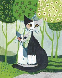 Rosina Wachtmeister Waiting couple in harmony Fertig-Bild 40x50 Katzen in Möbel & Wohnen, Dekoration, Bilder & Drucke   eBay