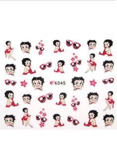Charlies Nail Art - PINK BETTY BOOP nail stickers, £1.00 (http://www.charliesnailart.co.uk/pink-betty-boop-nail-stickers/)