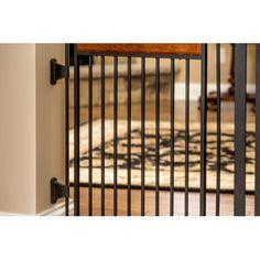 "Carlson Design Paw Arched Flexi Dog Gate, Black, 76""L x 2""W x 28""H - Walmart.com - Walmart.com Dog Gate With Door, Double Lock, Pet Gate, Wood Accents, Craftsman Style, Steel Frame, Really Cool Stuff, Arch, Walmart"
