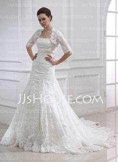 Wedding Dresses - $186.99 - Empire Strapless Chapel Train Satin Tulle Wedding Dress With Lace Beadwork (002011990) http://jjshouse.com/Empire-Strapless-Chapel-Train-Satin-Tulle-Wedding-Dress-With-Lace-Beadwork-002011990-g11990