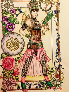 Done by Patti Steeman-Kondus Colouring Pages, Adult Coloring Pages, Coloring Books, Steampunk Design, Steampunk Fashion, Fantasy Images, Fantasy Art, Lady Mechanika, Steampunk Illustration