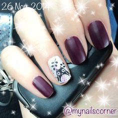 Winter owl accent nail