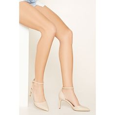 Forever 21 Women's  Faux Leather Ankle Strap Pumps (€22) ❤ liked on Polyvore featuring shoes, pumps, pointed-toe pumps, pointy high heel pumps, pointy stilettos, tie shoes and high heel stiletto pumps