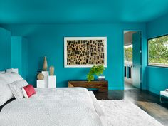 Love, love that even the ceiling is painted this fabulous teal blue green turquoise color! Contemporary Bedroom by Specht Harpman Architects