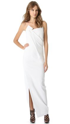 Donna Karan New York Geometric Fold Strapless Gown in White (Ash) | Lyst