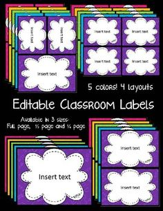 Bright FREE labels to help you stay organized (and they're editable!)--also check out other products by seller (class supplies relay) Classroom Organisation, Teacher Organization, Classroom Displays, Classroom Themes, Classroom Management, Purple Classroom Decor, Classroom Labels Free, Classroom Setting, Classroom Design