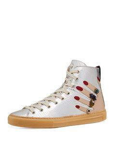 Flat+Major+High-Top+Sneaker,+Silver+by+Gucci+at+Bergdorf+Goodman.