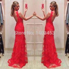 2014 Floor Length Gown vestidos de fiesta Red Lace Long Prom Dress 2014 Real Picture renda formatura vestido de Festa longo