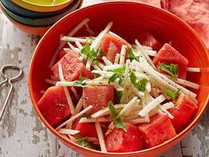 Very low in salt and a cool refreshing summer salad. Consider a few blueberries for the 4th. Jicama and Watermelon Salad from FoodNetwork.com