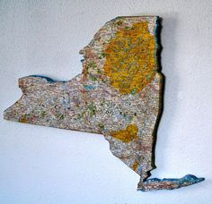 NEW YORK Vintage National Geographic State Map Wall Art (small size)