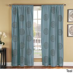 Brittany Embroidered Faux Silk Medallion Print Curtain Panel Pair - Overstock™ Shopping - Great Deals on Curtains