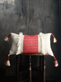 Ukrainian Inspired Tassel Fringe Pillow Cover Tribal   Moroccan   Slovakian   Russian   Handira   Berber   Red   Nursery   Boho   Bohemian
