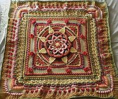 Ravelry: The Amanzi Block/Throw pattern by Jen Tyler Crochet Mandala Pattern, Crochet Blocks, Granny Square Crochet Pattern, Afghan Crochet Patterns, Crochet Squares, Crochet Granny, Granny Squares, Crochet Box, Crochet Ideas