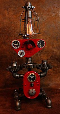 Steampunk machine age gear Farmall instrument panel gauge lamp industrial art
