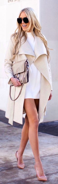 #winter #outfits white closed-neck mini dress and gray long-sleeve cardigan. Pic by @macystucke.