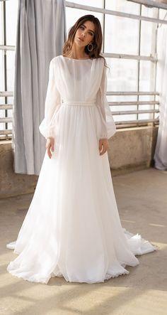Organza Bridal, Wedding Dress Organza, Wedding Dress Sleeves, Long Sleeve Wedding, Bridal Gowns, Lace Dress, Dress Long, Long Sleeve Bridal Dresses, Long Sleeve Gown