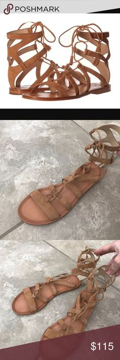 Frye sand leather gladiator sandals Comes in original box, in excellent condition! No signs of wear on top of shoes whatsoever. Perfect summer festival shoes! Frye Shoes Sandals