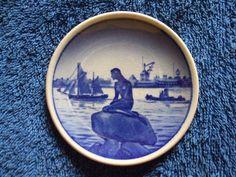 Royal Copenhagen Denmark Fajance mini wall plaque plate Mermaid Langelinie