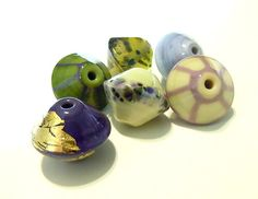 Bandol Set of 6 Lampwork Beads UK SRA by helenjewellery on Etsy, £25.00