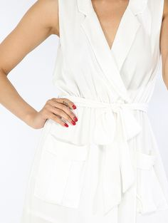 Online shopping for Pockets Wrap Dress OFF WHITE from a great selection of women's fashion clothing & more at MakeMeChic.COM.