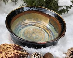 """Clay'nWoodCrafts on Instagram: """"Large wood fired salad bowl.  I love the ash deposits in it! DM me if you'd like to purchase it or if you have any inquiries about it!…"""" Salad Bowls, Firewood, Ash, Clay, Ceramics, My Love, Green, Instagram, Gray"""