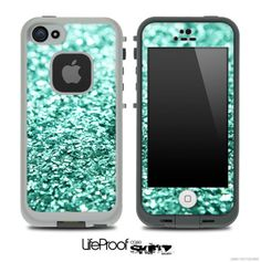 Tiffany Green Glimmer Skin for the iPhone 4/4s or 5 LifeProof Case on Etsy, $9.99