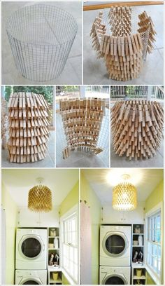 Suspension / abat-jour en pinces à linge - Unusual and Creative Chandelier Ideas   EASY DIY and CRAFTS