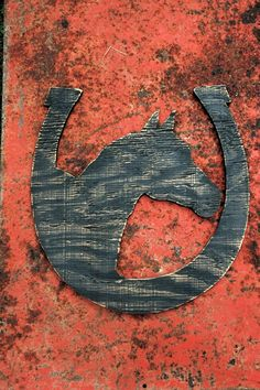 Horse with Horse Shoe - Large Recycled Wood Sign - Any Color - Rustic Style