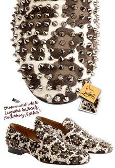 Christian Louboutin Brown & White Leopard Hair-calf Roller-boy Spikes.