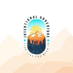 adventure logo design, hiking, mountain, outdoor, etc Mountain Logos, Mountain Designs, Hiking Logo, Computer Photography, Create Logo Design, Sunset Logo, Camp Logo, Outdoor Logos, Badge Logo
