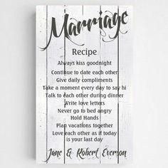 Marriage Recipe Always Kiss Me Goodnight Personalized Canvas Print - The Rustic Shop