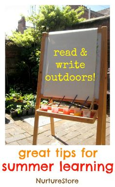 Great ideas for taking reading and writing outdoors for some fun summer learning. Great ideas for the first weeks of school without ac. Reading Activities, Summer Activities, Literacy Centers, Letter Activities, Educational Activities, Learning Through Play, Fun Learning, Summer School, Summer