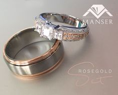 His: titanium and rose gold ring. Hers: white and rose gold ring with moissanite princess cuts and small diamonds. His And Her Wedding Rings, His And Hers Rings, Wedding Ring Sets Unique, Wedding Rings Sets Gold, Matching Wedding Rings, Titanium Wedding Rings, Diamond Wedding Rings, Bridal Rings, Wedding Gold