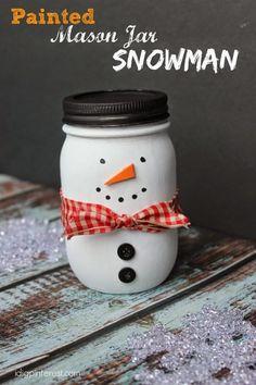 Painted Maison Jar Snowman