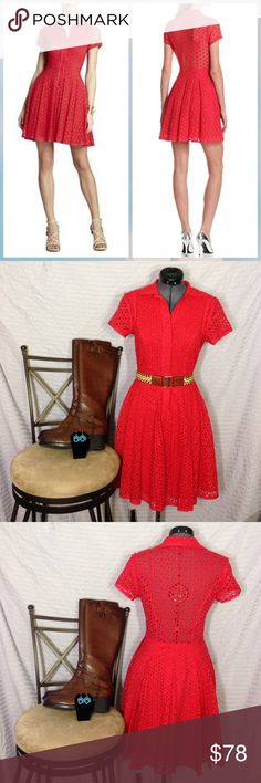 """BCBGMAXAZRIA Dress """"DASHA Lipstick Red /0"""" Super cute dress, above the knee, cinches at waist, cap sleeves, half button down, full skirt, hidden pockets, see trough panel on back.  They call the color lipstick red but I would call it a deep/rich coral.  I love this dress, not 100% sure about selling but maybe for the right price. BCBGMaxAzria Dresses"""