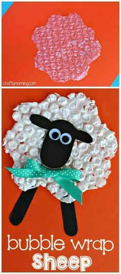 Bubble wrap sheep craft - paint, glue, googly eyes, popsicle sticks, and bubble wrap