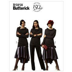 Patron couture butterick b5858/a5 haut, jupe et pantalon a5(6-8-10-12-14)