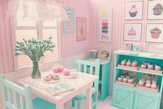 Pink & green miniature bakery, pink and green restaurant - Tienda