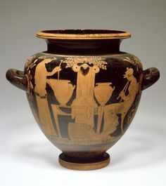 San Antonio Museum of Art - Stamnos (jar) with a Cult Image of Dionysos and Two Women ca 450BC