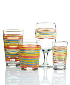 Fiesta Glassware, Flamingo Stripe Sets of 4 Collection - Glassware - Dining & Entertaining - Macy's