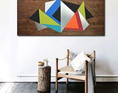 MODERN ART - Wood Wall Art - Metal Art - Large Art - Modern Painting - Modern Artwork - Abstract Art - Modern Art - Wall Decor Original Art by Laura Ashley Blue Grid II, 2015 24x65x3/4 Made to order or customize this piece. This piece is created by cutting and assembling pieces of square-shaped sheet metal into a modern geometric pattern onto a stained solid wood base, which has been lightly stained a gray tone to still show the natural wood grain. Its also accented with modern painted...