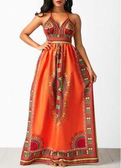 Liligal Women African Dashiki Print Prom Maxi Dress High Waist Sleeveless Open Back Dashiki Dress African Print Dresses, African Wear, African Attire, African Fashion Dresses, African Dress, Fashion Outfits, African Style, Fashion Styles, Fashion Ideas