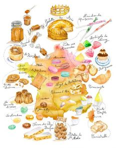 Lucile PRACHE, Illustrations for the Virginie agency Funny Food Puns, Food Humor, Illustration Dessert, Menu Desserts, Recipe Drawing, Watercolor Food, Watercolour, Food Sketch, Food Journal
