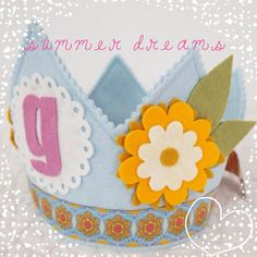 Yellow and Blue Girls Birthday Party Hat  daisy flower door mosey, $32.00