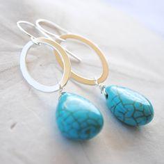 Silver Loop with Turquoise Teardrop. Dangle Earrings. Bridesmaid Earrings.. $20.00, via Etsy.
