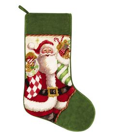 This Mr. Claus & Gifts Needlepoint Stocking is perfect! #zulilyfinds