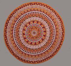 Peacock Burgundy Mandala Circle Tapestry