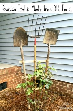 Old farm tools from the thrift store or your garage are PERFECT for upcycling into a fun and functional garden trellis that also serves as primitive decor or garden art for your yard! Get all the DIY details from Sadie Seasongoods as she shares her frustrations and solutions for this project at www.sadieseasongoods.com . #upcycled #primitive #primitivedecor #gardentrellis #gardenart #farmtools #oldtools #upcycle #yardecor