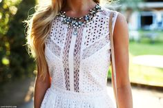 street style fashion jewelry lace white necklace fashion photography