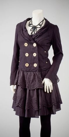 Womens repurposed black cotton military coat by redeuxclothing, $145.00